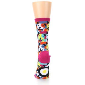 Image of Magenta Multi Color Pitbull Pop Art Women's Dress Socks (back-18)