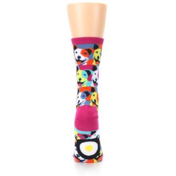 Image of Magenta Multi Color Pitbull Pop Art Women's Dress Socks (back-19)