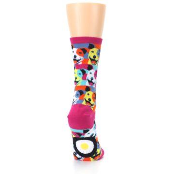 Image of Magenta Multi Color Pitbull Pop Art Women's Dress Socks (side-1-back-20)