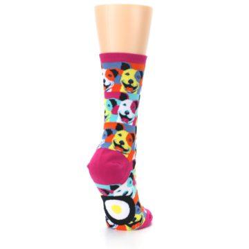 Image of Magenta Multi Color Pitbull Pop Art Women's Dress Socks (side-1-back-21)