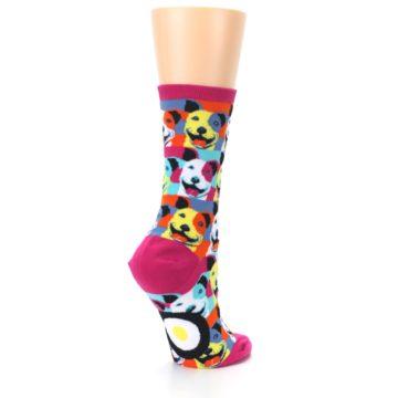 Image of Magenta Multi Color Pitbull Pop Art Women's Dress Socks (side-1-back-22)