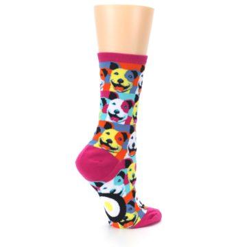 Image of Magenta Multi Color Pitbull Pop Art Women's Dress Socks (side-1-23)