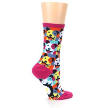 Image of Magenta Multi Color Pitbull Pop Art Women's Dress Socks (side-1-24)
