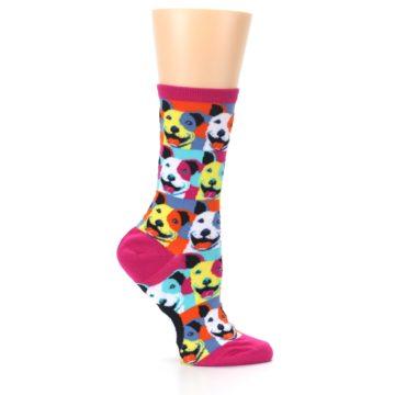 Image of Magenta Multi Color Pitbull Pop Art Women's Dress Socks (side-1-25)