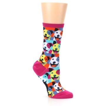 Image of Magenta Multi Color Pitbull Pop Art Women's Dress Socks (side-1-26)