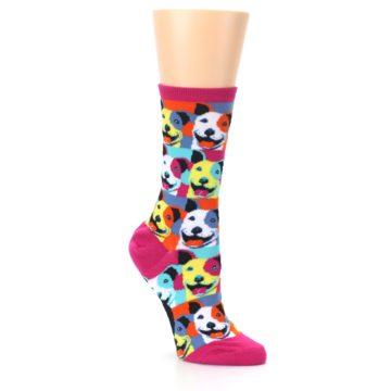 Image of Magenta Multi Color Pitbull Pop Art Women's Dress Socks (side-1-27)