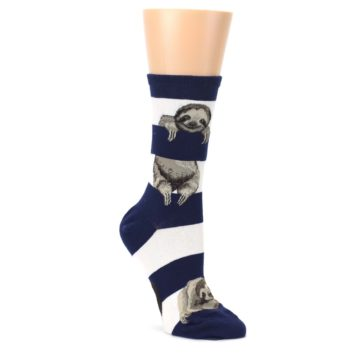 Navy-Sloth-Stripe-Womens-Dress-Socks-Mod-Sock