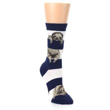 Image of Navy Sloth Stripe Women's Dress Socks (side-1-front-02)
