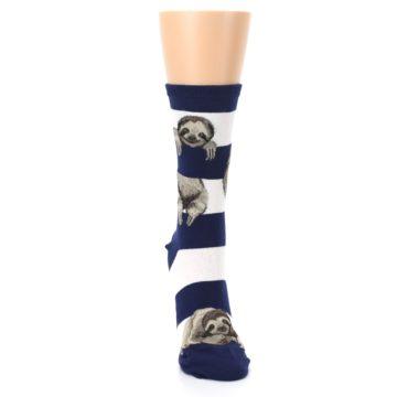 Image of Navy Sloth Stripe Women's Dress Socks (front-04)