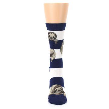 Image of Navy Sloth Stripe Women's Dress Socks (front-05)