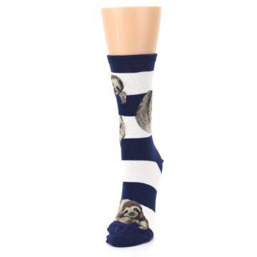 Image of Navy Sloth Stripe Women's Dress Socks (side-2-front-07)