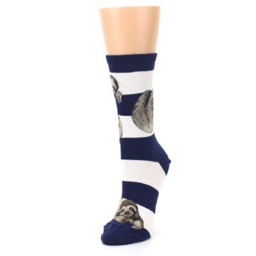 Image of Navy Sloth Stripe Women's Dress Socks (side-2-front-08)