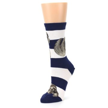 Image of Navy Sloth Stripe Women's Dress Socks (side-2-09)