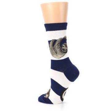 Image of Navy Sloth Stripe Women's Dress Socks (side-2-back-14)