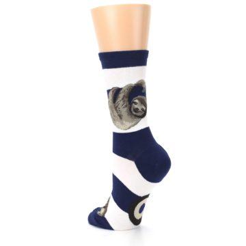 Image of Navy Sloth Stripe Women's Dress Socks (side-2-back-15)
