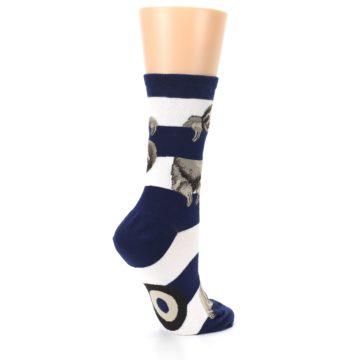 Image of Navy Sloth Stripe Women's Dress Socks (side-1-23)