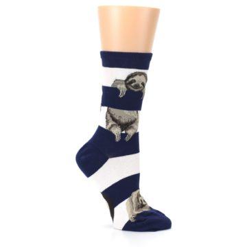 Image of Navy Sloth Stripe Women's Dress Socks (side-1-26)