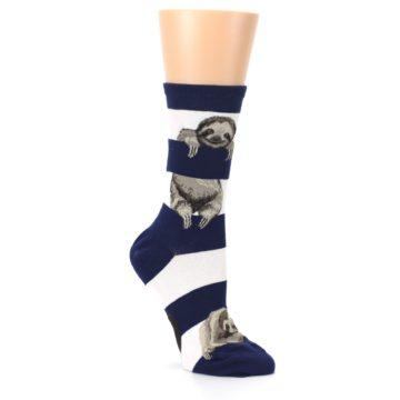 Image of Navy Sloth Stripe Women's Dress Socks (side-1-27)