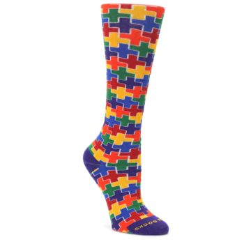 Multicolor-Rainbow-Plus-Womens-Crew-Socks-Pride-Socks
