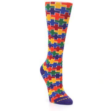 Image of Multicolor Rainbow Plus Women's Crew Socks (side-1-front-02)