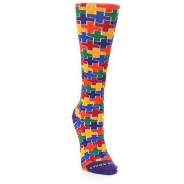 Image of Multicolor Rainbow Plus Women's Crew Socks (side-1-front-03)