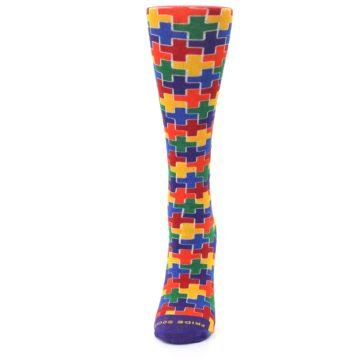 Image of Multicolor Rainbow Plus Women's Crew Socks (side-2-front-06)