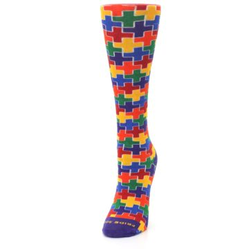 Image of Multicolor Rainbow Plus Women's Crew Socks (side-2-front-07)
