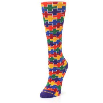 Image of Multicolor Rainbow Plus Women's Crew Socks (side-2-front-08)