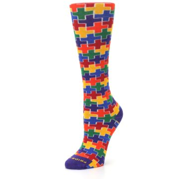 Image of Multicolor Rainbow Plus Women's Crew Socks (side-2-09)