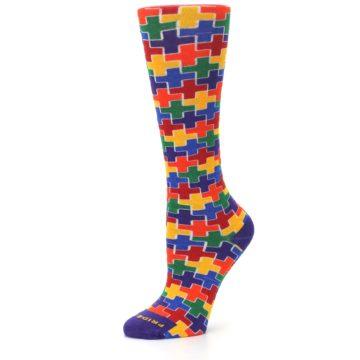 Image of Multicolor Rainbow Plus Women's Crew Socks (side-2-10)