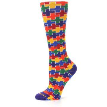 Image of Multicolor Rainbow Plus Women's Crew Socks (side-2-11)