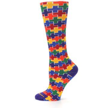 Image of Multicolor Rainbow Plus Women's Crew Socks (side-2-12)