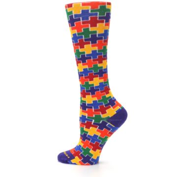 Image of Multicolor Rainbow Plus Women's Crew Socks (side-2-13)