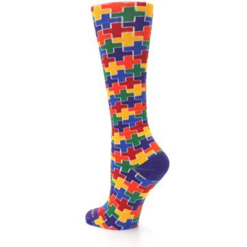 Image of Multicolor Rainbow Plus Women's Crew Socks (side-2-back-15)