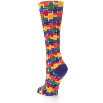 Image of Multicolor Rainbow Plus Women's Crew Socks (side-2-back-16)