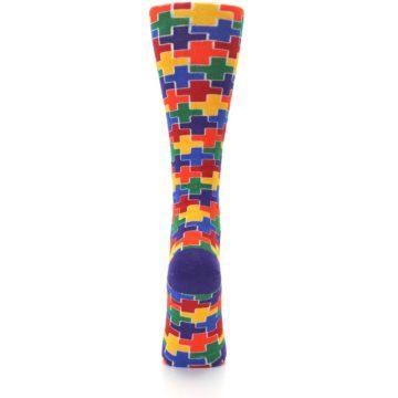 Image of Multicolor Rainbow Plus Women's Crew Socks (back-19)