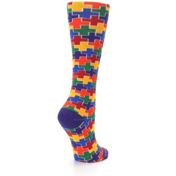 Image of Multicolor Rainbow Plus Women's Crew Socks (side-1-back-22)