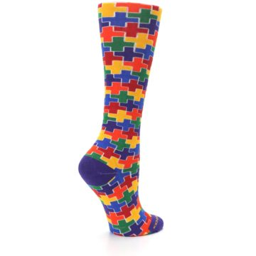 Image of Multicolor Rainbow Plus Women's Crew Socks (side-1-23)