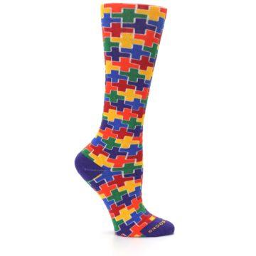 Image of Multicolor Rainbow Plus Women's Crew Socks (side-1-25)
