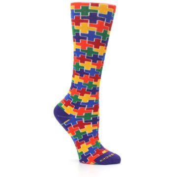 Image of Multicolor Rainbow Plus Women's Crew Socks (side-1-26)