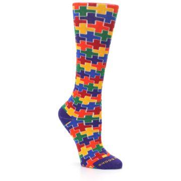 Image of Multicolor Rainbow Plus Women's Crew Socks (side-1-27)