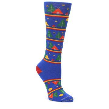 Blue-Green-Yellow-Camping-Womens-Crew-Socks-Pride-Socks