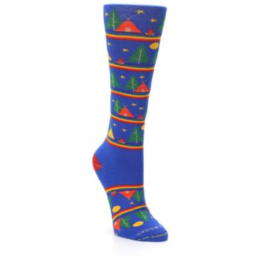 Image of Blue Green Yellow Camping Women's Crew Socks (side-1-front-02)