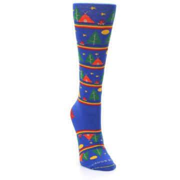 Image of Blue Green Yellow Camping Women's Crew Socks (side-1-front-03)