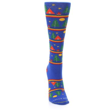 Image of Blue Green Yellow Camping Women's Crew Socks (front-04)