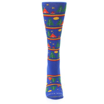 Image of Blue Green Yellow Camping Women's Crew Socks (front-05)