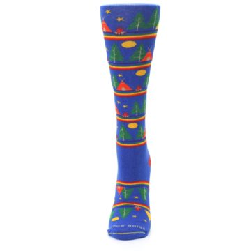Image of Blue Green Yellow Camping Women's Crew Socks (side-2-front-06)