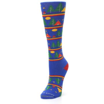 Image of Blue Green Yellow Camping Women's Crew Socks (side-2-front-08)