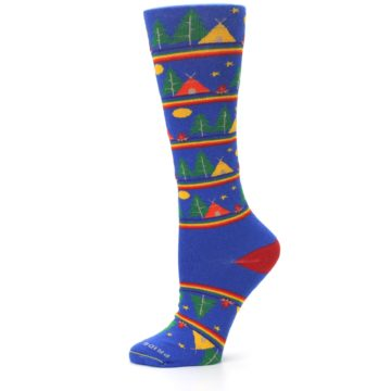 Image of Blue Green Yellow Camping Women's Crew Socks (side-2-11)