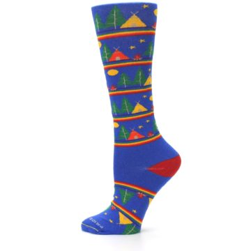 Image of Blue Green Yellow Camping Women's Crew Socks (side-2-12)